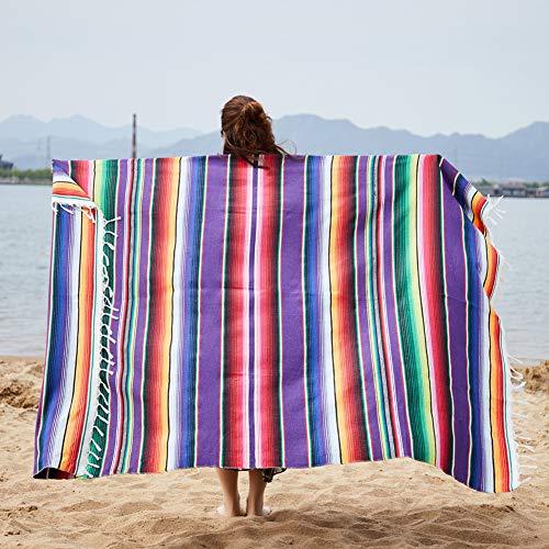 FairOnly Wandteppich, mexikanischer Stil, handlich, Regenbogenfarben, violett, 150x200cm+ tassel