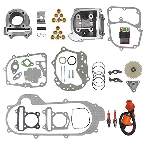 69mm Valve Big Bore Kit 100cc replacement for GY6 49CC 50CC 139QMB Moped Scooter Engine 50mm Bore Upgrade Set with Racing CDI Ignition Coil Performance Spark Plug