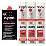 Zippo Gift Set - 12 Fl.oz Fluid Fuel and 3 Wick Card & 3 Flint Card (18 Flints) Bundle with Microfiber Cleaning Cloths