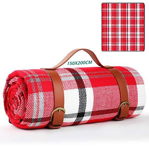 GeeRic Manta de Picnic Impermeable 200x200, Mantas para pícnic Grande Plegable Portátil de 3 Capas, Playa, Senderismo, Camping, Cuadros Rojos