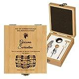 MURRANO Set Cavatappi da Vino - Kit da Sommelier Degustazione Perfetta Personalizzato - Scatola in legno di bambù + 4 pezzi di Accessori Vino - regalo uomo - Kit di buongustaio