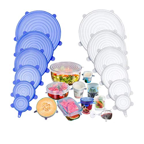 Evecase 12 Pack Reuseable Silicone Stretch Seal lids,BPA-Free Food Storage Covers Fit Various Shape of Containers, Dishes, Bowls, Safe in Dishwasher, Microwave and Freezer (Blue+Clear)