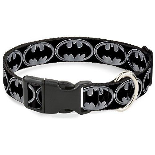 "Buckle-Down Plastic Clip Collar - Batman Shield Black/Silver - 1/2"" Wide - Fits 9-15"" Neck - Large"