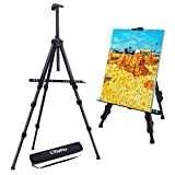 Easel Stand, Ohuhu 72' Artist Easels for Display, Aluminum Metal Tripod Field Easel with Bag for Table-Top/Floor/Flip Charts, Black Art Easels W/Adjustable Height 25-72