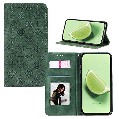 JZ [Embossed Lucky Flower Solid Color Wallet Flip Cover For para iPhone 6S Plus / 6 Plus Funda - Green