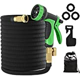 """10. Water Pipe, Expandable Garden Hose 100ft, Flexible Lightweight Water Hose With 10 Function Nozzle, Durable 3-layer Latex Core, 3/4"""" Solid Brass Fittings, Easy Storage Kink Free Expanding Pipe"""