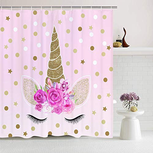 Romeooera Unicorn Shower Curtains, Cute Pink Floral Unicorn Magic Head Twinkle Star Shower Curtain, Mildewproof Waterproof Unicorn Curtains with Hooks for Bathroom Window Decor
