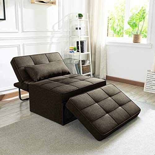 Vonanda Sofá cama, silla convertible 4 en 1, multifunción, plegable, otomana, moderna, transpirable, cama de invitados con cama ajustable para habitación pequeña, color marrón chocolate