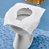 Unbekannt TRI Papier-Toilettencover, 25 Stück, Einmalpapierauflagen, WC-Sitzauflage, Sitzauflage, Hygieneschutz, Reisetoilette, weiß, Papier, 42 x 38 cm