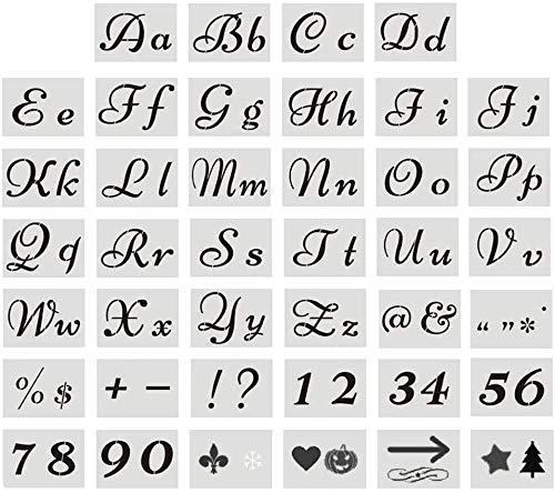 Buchstabenschablonen aus Kunststoff, Alphabet-Schablonen mit Kalligraphie-Schriftart, Groß- und Kleinbuchstaben, Zahlen und Zeichen zum Malen auf Holz, Kunsthandwerk Schablonen (80 Designs)