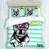 Aliciga Bedding Juego de Funda de Edredón,Retrato de Bulldog francés con Gafas de Sol Brillante Hola Verano Mascota doméstica Perro Rayas cerúleas,Microfibra SIN Relleno,(Cama 200x200 + Almohada)