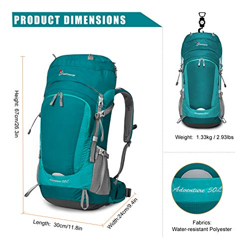 MOUNTAINTOP 50L/60L Hiking Backpack with Rain Cover (50L-Fuchsias)