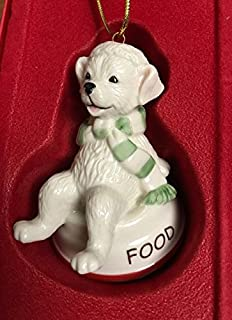 Lenox Puppy Dog Sitting on Dish Furry Friends Food Dog Ornament