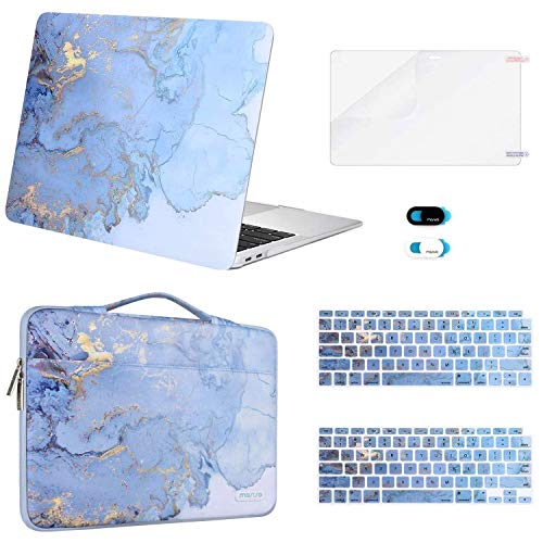 MOSISO Compatible with MacBook Air 13 inch Case 2020 2019 2018 Release A2179 A1932 Retina, Plastic Watercolor Marble Hard Shell Case&Sleeve Bag&Keyboard Skin&Webcam Cover&Screen Protector, Blue