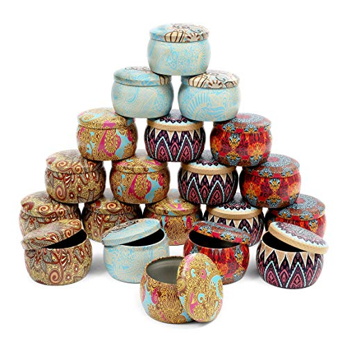 Metal Candle Tins with Lids, Round Storage Containers (3 x 2 In, 20 Pack)