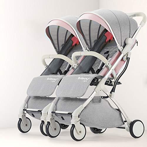 Deichsel Design Doppel-Kinderwagen, abnehmbare Doppel-Kinderwagen Faltbare Doppel-Kinderwagen, Carport regendicht, EIN Fuß Doppelbremse (Farbe : Lotus pink)