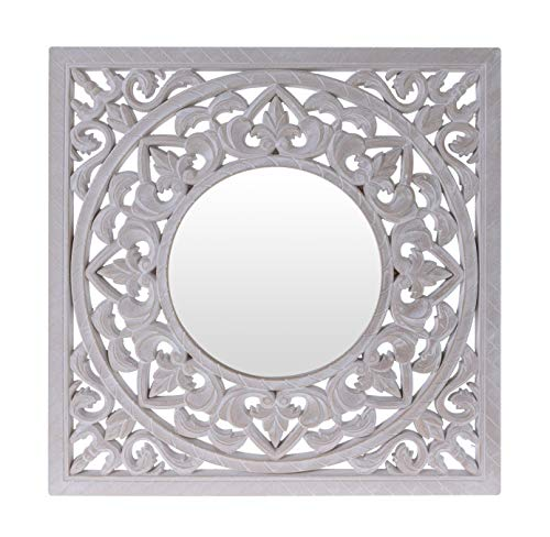 Meinposten. Wandornament Spiegel Holz weiß 50x50 cm Shabby Wandspiegel Ornament Holzornament Wandbild
