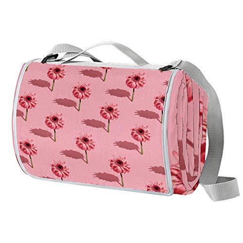 TIZORAX Picknickdecke mit rosa Blumen und Schatten, wasserdicht, faltbar, für Strand, Camping, Wandern