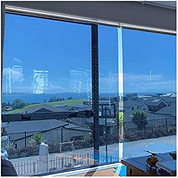 JLXJ One Way Mirror Window Shade Privacy Day Heat Control Clear Security Blue Roll Up Blind for Home Office 95cm/115cm/135cm/155cm Wide  Size   115×180cm 45.2 ×70.8
