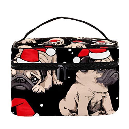 Un petit cochon avec couronne de roses et lunettes de soleil rondes - Trousse de toilette de voyage avec poignée, pinceaux de maquillage, rouge à lèvres