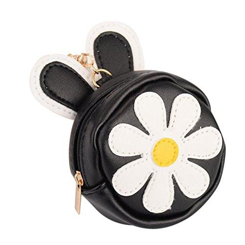 Outflower Chrysantheme Muster Leder Münzfach Halter Tasche Schlüsselanhänger Damen Mini Handtasche Reißverschluss Geldbörse Nette Frauen Brieftasche Auto Anhänger Zubehör für Geschenk (Schwarz)