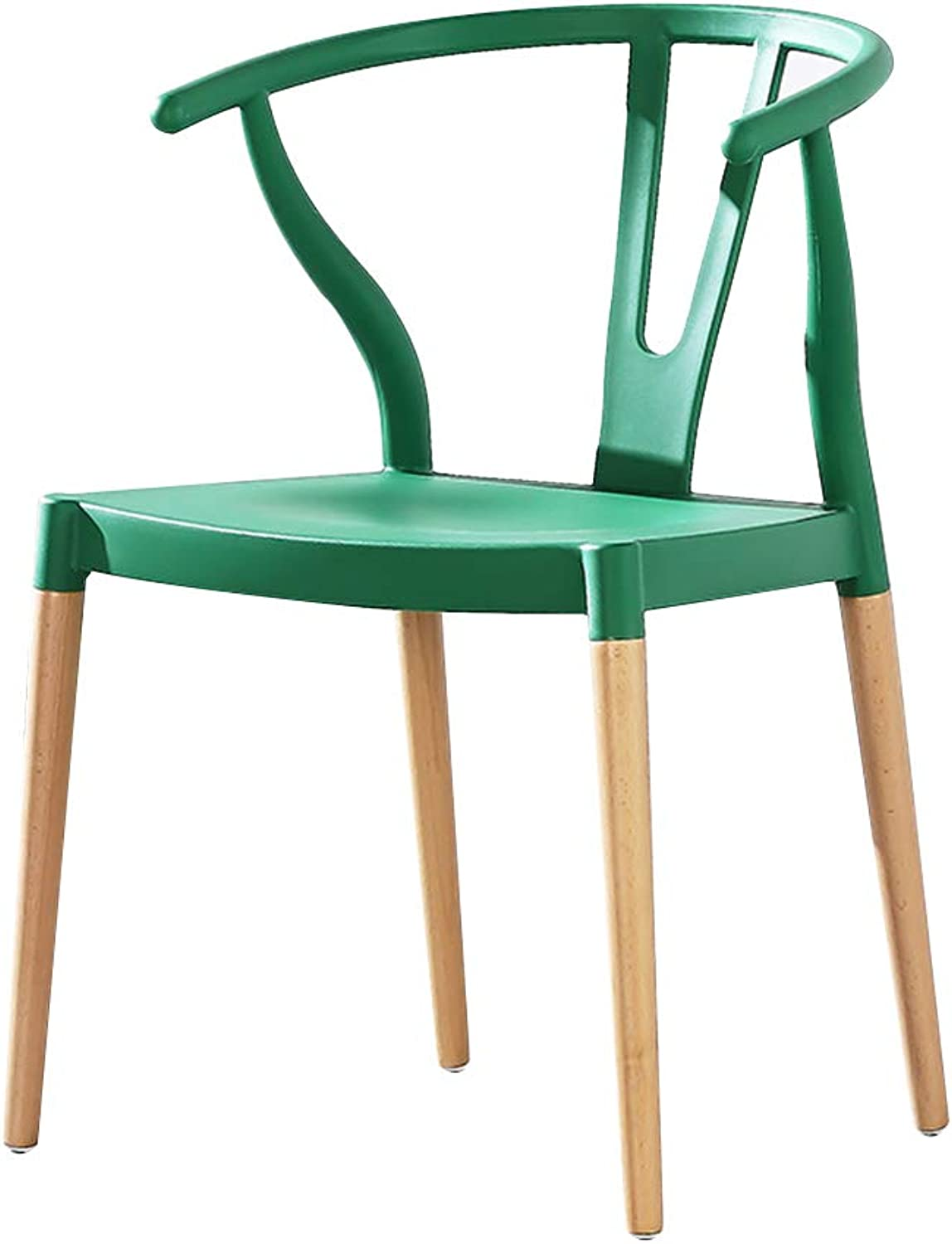 Chair Chair, with Armrests Hollow Backrest Solid Wood Chair Legs Ergonomic Curve Household Balcony Lounge Chair 7 colors (color   Green)