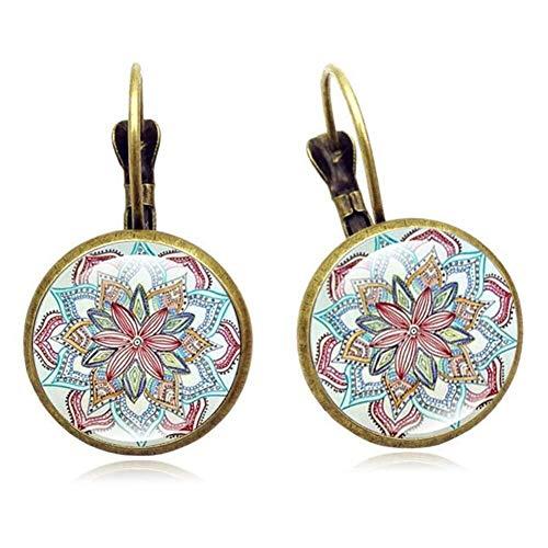 Weinlese-Ohrringe gehäkelte Mandala-Blume Alloy Gem Damen Geschenk (Color : Antique Bronze)