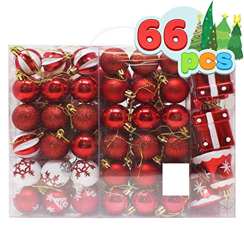 Joiedomi 66 Pcs Red and White Christmas Assorted Ornaments with a Red Star Tree Topper, Shatterproof Christmas Ornaments for Holidays, Party Decoration, Tree Ornaments, and Events