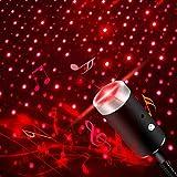 Luz Nocturna USB Estrella,5 Modos Activada Por Sonido con Rotación Automática, dormitorio, fiesta de juegos (rojo)