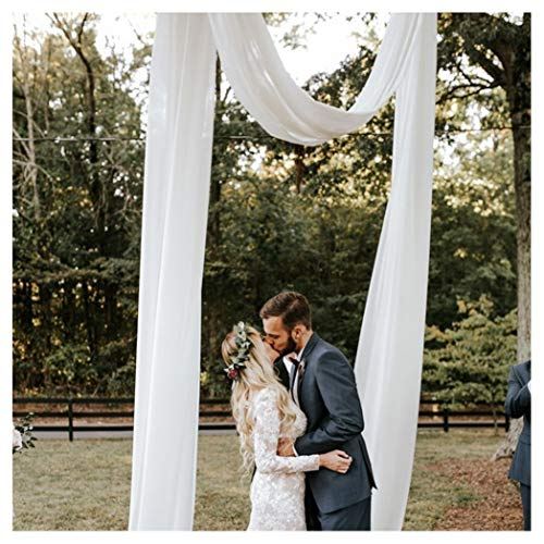 White Chiffon Backdrop Curtains 2 Pieces 4.9ftx10ft Sheer Fabric Drapes Photo Booth Background for Wedding Arch Stage Party Decoration