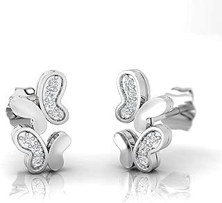 IGI Certified 1/20 Carat Natural Diamond Sterling Silver Butterfly Stud Earrings for Women (J-K Color, I2-I3 Clarity)