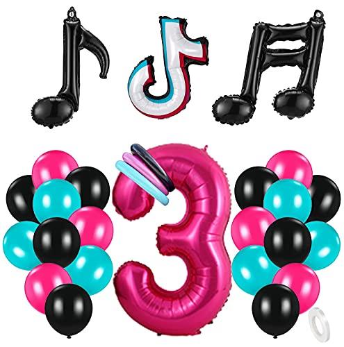 3 Años Decoración de Cumpleaños Fiesta de Música Gigante Número 3 (100 CM) Decoración de Fiesta Musical de Tik Tok Globos de Látex Lámina Azul Tiffany para Adultos Niños Niñas