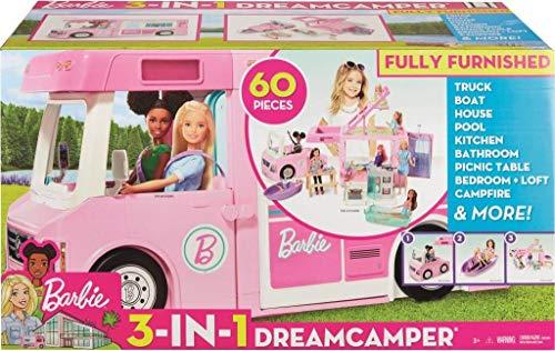 Barbie GHL93 - 3-in-1 Super Abenteuer-Camper mit Zubehör, Camping Wohnwagen für Puppen, Spielzeug ab 3 Jahren