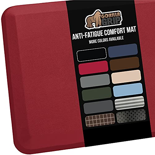 Gorilla Grip Anti Fatigue Cushioned Comfort Mat, Ergonomically Durable, Supportive, Padded, Thick and Washable, Stain-Resistant, Kitchen, Garage, Office Standing Desk Mats, 39x20, Red