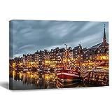 DKISEE Honfleur Port France Europe - Lienzo impreso de 40,6 x 60,9 cm, moderno paisaje para pared, listo para colgar para decoración del hogar, oficina, decoración de pared, WPW234