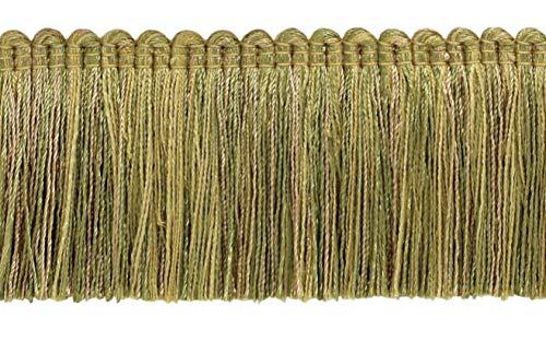 DÉCOPRO 4.6 Meter Value Pack of Veranda Collection 51mm Brush Fringe Trim Olive Green, Light Gold Style#: 0200VB Color: Olive Grove - VNT15 (15 Ft / 5 Yards)