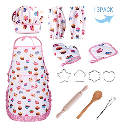 Subao Best Birthday Gifts for Kids 2-4 Year Old,Kitchen Accessories Set Toy for Children Chef Costume for Kid Role Play Great Xmas Thanksgiving Gift for Boy Girl 5-7 Cooking Baking Suit Toys White