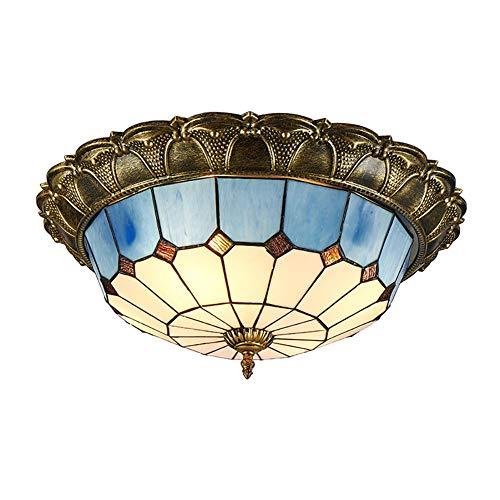 Led Estilo Tiffany Vintage Lámpara De Techo,Azul Vidrieras Cúpula Montaje Empotrado Plafón,Led Luz De Pandent para Dormitorios Salón-Luz Cálida 50cm