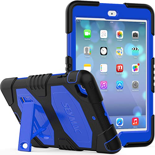 iPad Mini 123 Case, SEYMCY Rugged Shockproof Drop Protection Silicone Hard Bumper Stand Case for iPad Mini 1st/ 2nd/ 3rd Generation (Black/Blue)