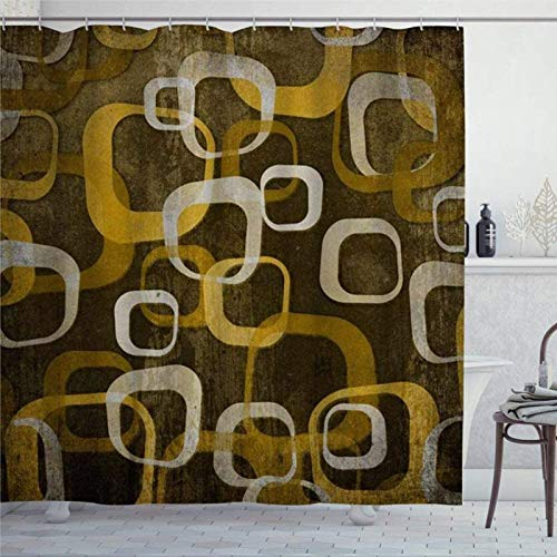 Cortina de ducha Pendientes con diseño geométrico retro de fondo abstracto de moda marrón blanco cortina de ducha con anillos de tela de poliéster cortinas de ducha con ganchos decoración de baño baño