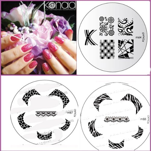 Bundle 5 pièces : Konad Plaque de nouvelles images M87, M88, M64 + Stamper & Scraper + A-viva Eco Lime à ongles