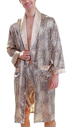 Men's Printed Bathrobes Luxurious Kimono Soft Satin Robe with Shorts Nightgown Gold