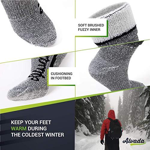 Alvada 80% Merino Wool Hiking Socks Thermal Warm Crew Winter Boot Sock for Men Women 3 Pairs SM