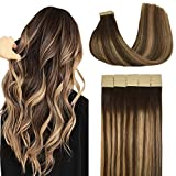 Doores 20pcs Hair Extensions Tape in Human Hair Ombre Chocolate Brown to Caramel Blonde Remy Silky Straight Hair Extensions Tape in Skin Weft Natural Hair Extensions 50g 20 Inch