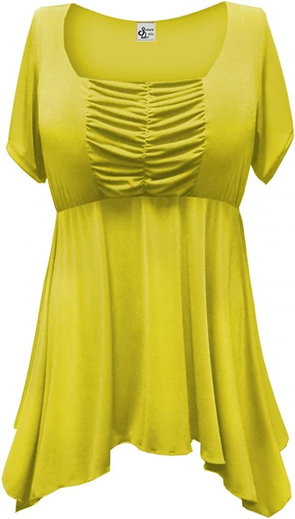 Women's Yellow Slinky Plus Size Supersize Babydoll Extra Long Shirt