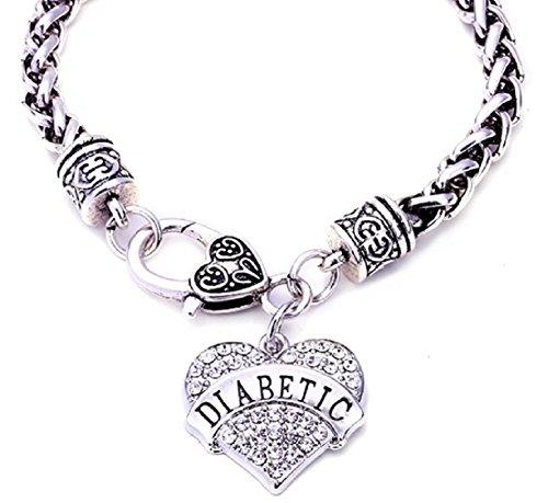 DIABETIC Awareness Alert Charm Womens Bracelet, 7.5 Silver Tone