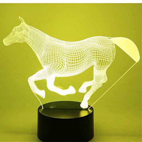 Lampe illusion lumière de nuit 3d, cheval en marche avec 7 couleurs de lumière pour la lampe de décoration à la maison am, lampe visuelleoptique