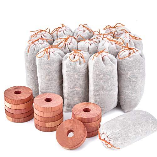 Homode Zedernblöcke zur Aufbewahrung von Kleidung, natürliche aromatische Zedernringe und Zedernsäckchen für Schränke und Schubladen, 30 Stück