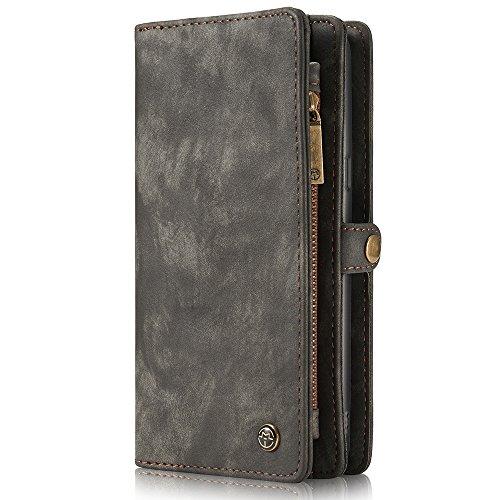 Samsung Galaxy S8 Plus/S8+ Leder Case Hülle mit Kartenfächer Geldscheinfach mit Reißverschluss Magnet Handy Schutzhülle, Grau