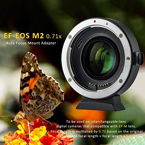 VILTROX EF-EOS M2 Objektivadapter 0,71x Speed Booster für Canon EF Objektiv auf EOS EF-M spiegellose Kamera M50 AF Autofokusreduzierer